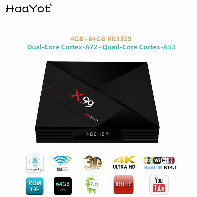 HAAYOT 2019X99 Android 7.1 TV BOX RK3399 Sechs Core 4GB RAM 64GB ROM Mit Sprach Remote 2,4 /5G WiFi Super UHD 4K Smart Set-Top-Box