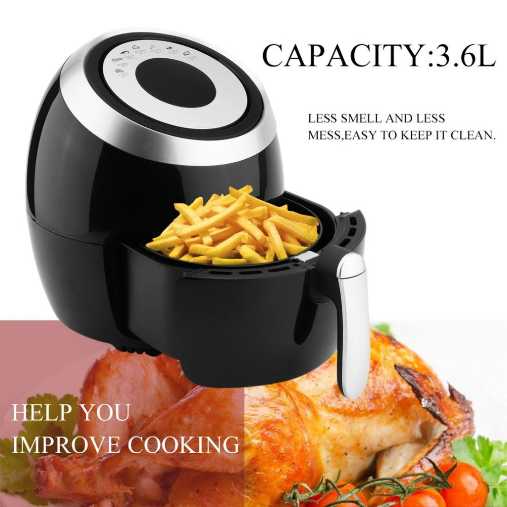 1400W 3.6L Large Capacity Intelligent Temperature Control Commercial Electric Air Fryer Smokeless Kitchen Cooker EU Plug Black