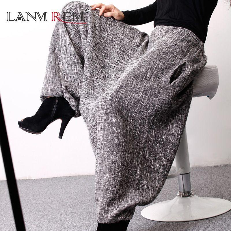 LANMREM2018 Autumn And Autumn New Korean Tide Linen Loose Large Size Natural Waist Harem Ankle-length Pants Woman E100202