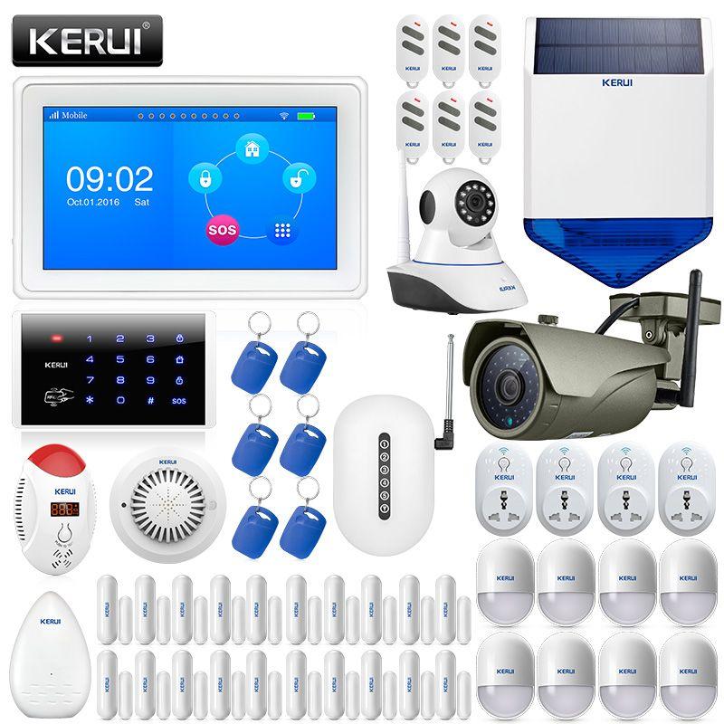 KERUI K7 7 Zoll TFT Farbe Display WIFI GSM Sicherheit Alarm System Smart Home Solar Sirene Outdoor Wasserdicht IP Kamera feuer Alarm