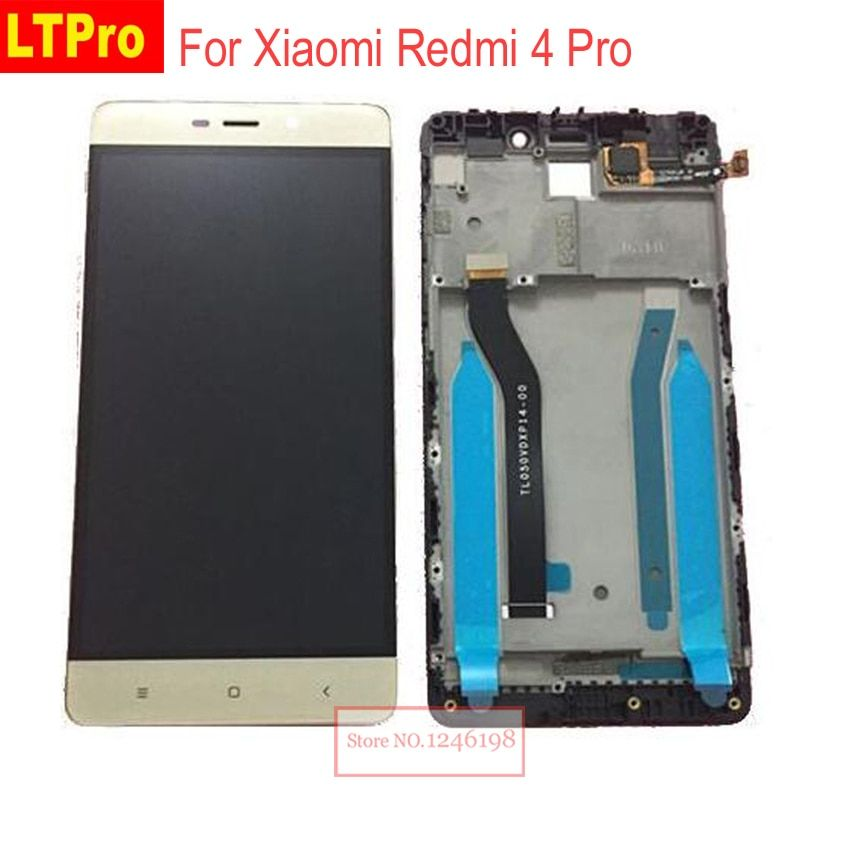 LTPro Black Gold White Full LCD Display Touch Screen Digitizer Assembly with frame For Xiaomi Redmi 4 Pro ROM-32G Replacement
