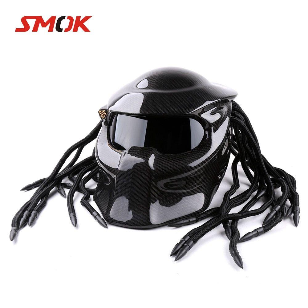 Universal Predator Full Face Maske Carbon Faser Neca Iron Man Fransen Zöpfe Motorrad Helm Für KTM 690 SMC 350 EXC 450 300
