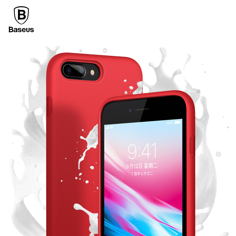 Baseus Liquid Silicone Phone Case For iPhone 8 7 Plus Capinhas Luxury Original Cover For iPhone 8 Coque Funda Capa Phone Pouch