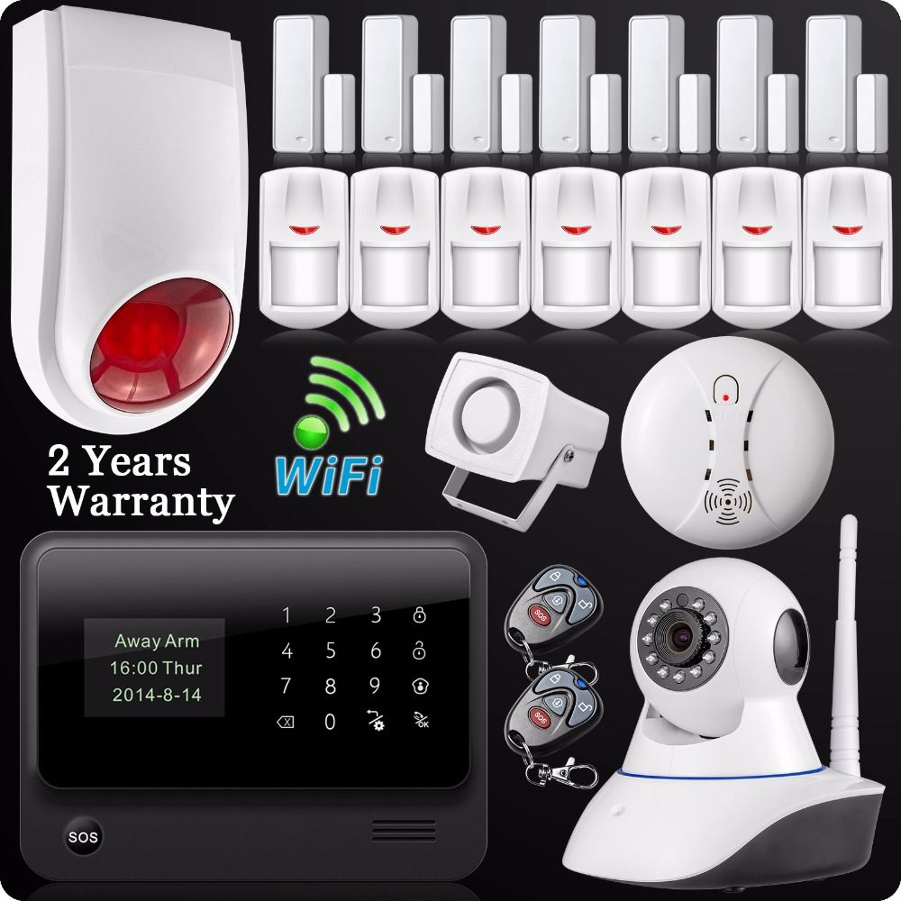 DHL Free Shipping 2.4G WiFi GSM GPRS SMS Wireless Home House Security Intruder Alarm System IP Camera Flash Siren Smoke Detector