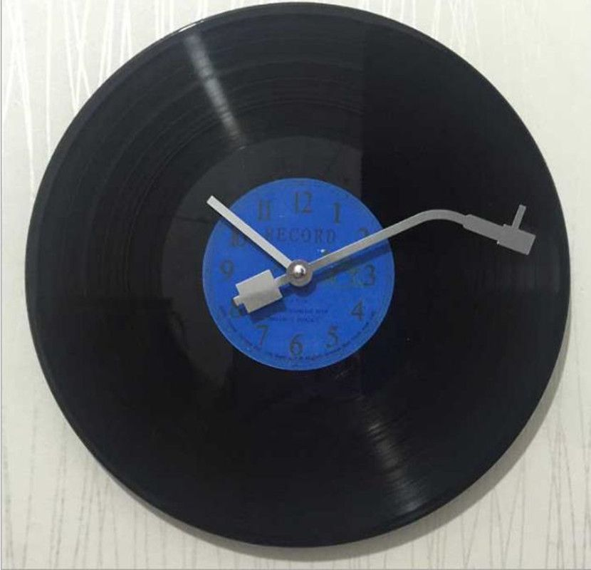 Quartz rond Vintage pas cher Horloge murale Design CD noir vinyle Record Horloge Duvar Saati Horloge murale cuisine montre pour la décoration intérieure