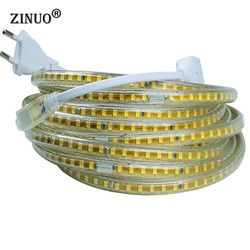 ZINUO 220V Led Strip 2835 120Leds/M IP65 Waterproof With EU Power Adapter Flexible LED Tape Ribbon Outdoor 1M 2M 5M 10M 15M 20M