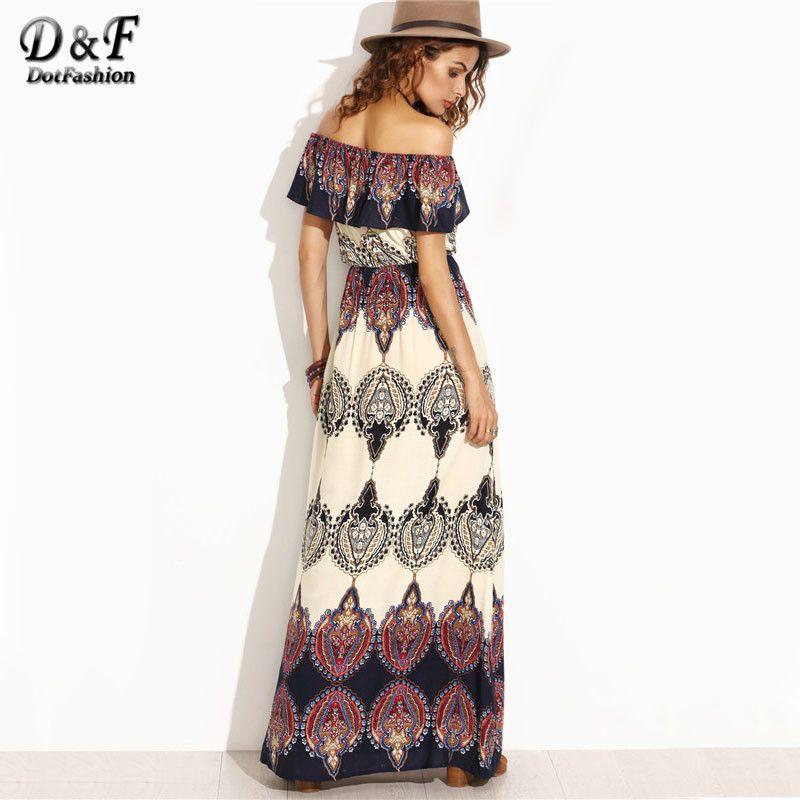 Dotfashion Bohemian <font><b>Style</b></font> Maxi Dress Beach Dress Summer Boho Dress Multicolor Print Off The Shoulder Ruffle Maxi Dress