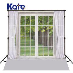 KATE Indoor Wedding Backdrop White Wood Floor Backdrops Glass Windows and Spring Backdrops White Curtain Background for Studio