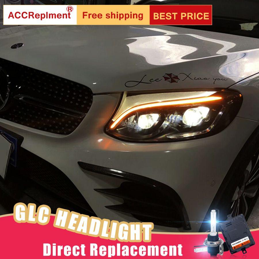 2 Pcs LED Scheinwerfer Für Benz AMG GLC 2017-2019 led auto lichter Engel augen ALLE LED KIT Nebel lichter LED Tagfahrlicht