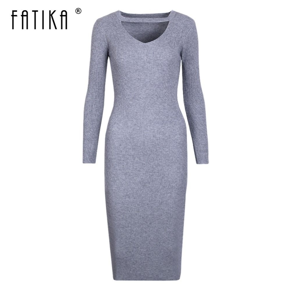 FATIKA Halter Long sleeve Grey Knitted Sweater Women Slim Dresses Autumn Red V neck Knee Dress Casual Pink Bodycon Dress femme