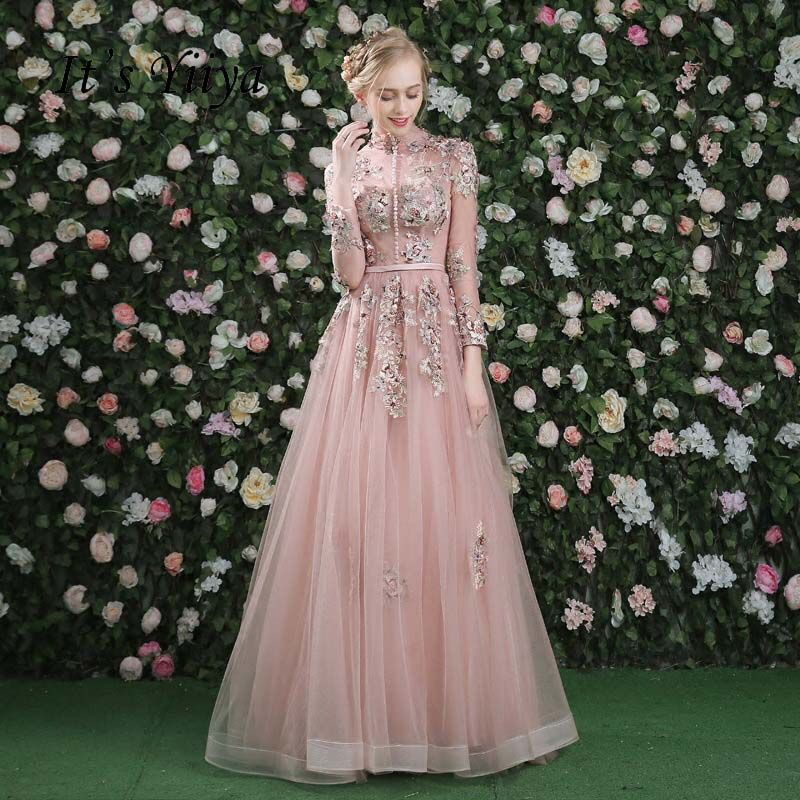 It's Yiiya Pink Long Sleeves Floral Print Lace Up A-line Evening Dress Floor Length Party Gown Evening Gowns Prom Dresses LX028