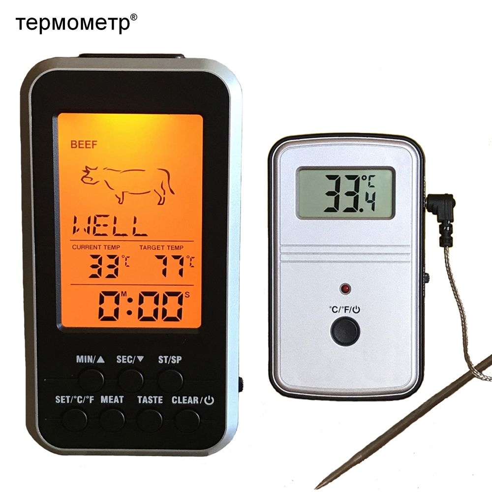 Digital BBQ Thermometer Wireless Kitchen Oven Food Cooking Grill Smoker Meat Thermometer with Probe and Timer <font><b>Temperature</b></font> Alarm