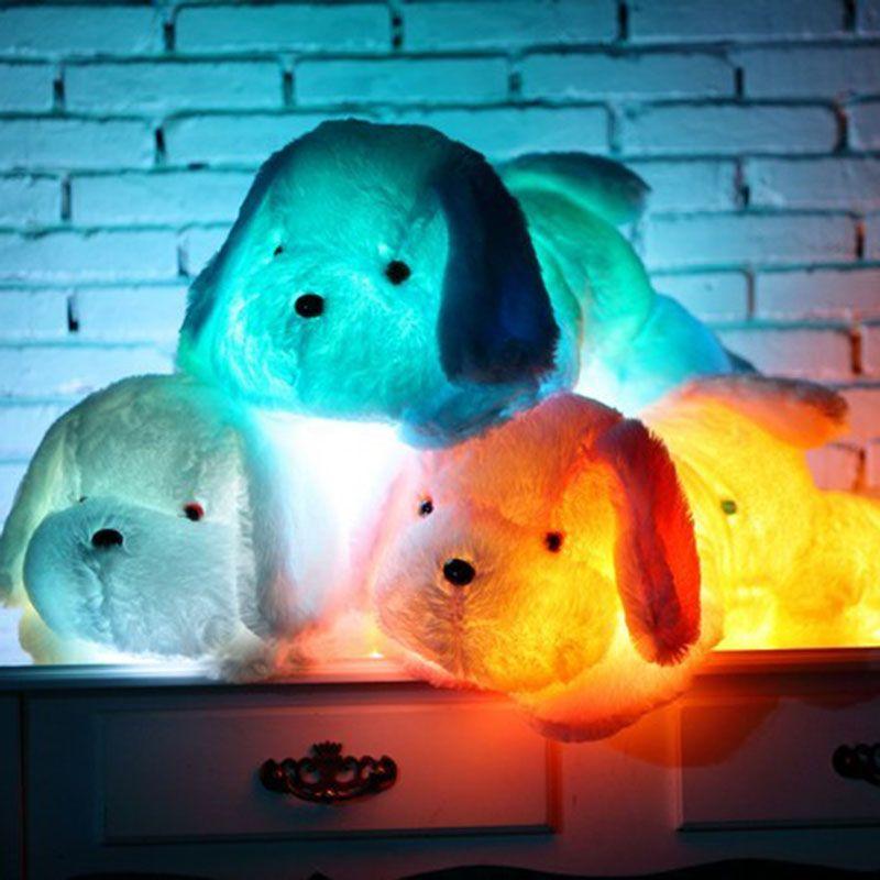 50 cm 80 cm LED glowing perro juguete grande de la felpa tamaño luz intermitente LED cachorro juguete luminoso muñeca linda del perro peluche bebé muñeca cumpleaños