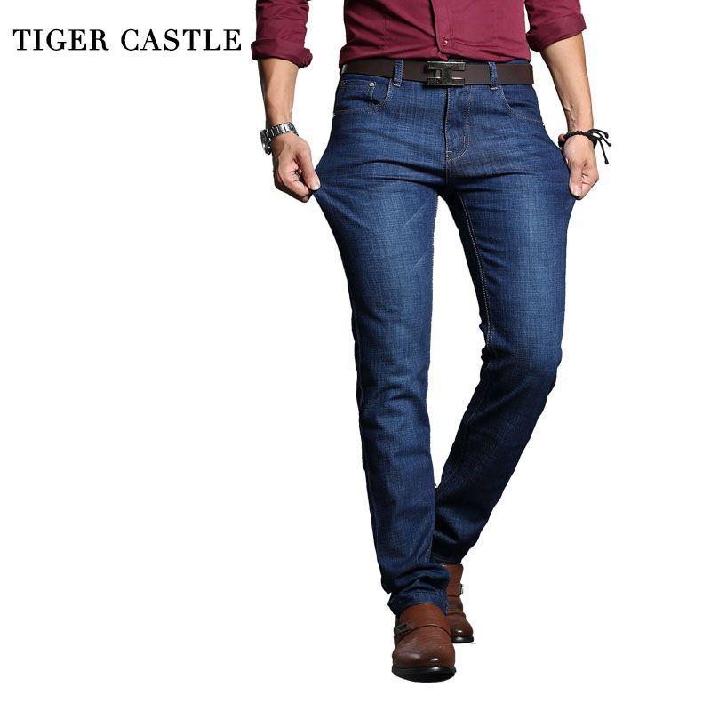 TIGER SCHLOSS Herren Skinny Jeans Baumwolle Stretch Designer Jeans Männer Marke Gerade Blaue Hose Männlichen Qualität Enge Jeans