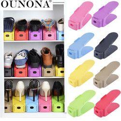 OUNONA 1 paquete plástico almacenamiento zapatos Shleves doble ancho zapato Holder ahorre espacio zapatos organizador soporte estante para sala