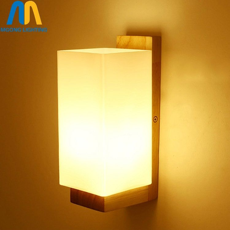 novelty Wooden glass square modern led interior chinese wall lamp bedroom indoor lights