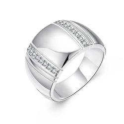 Jemmin S90 Silver Color Woman/ Man Lover's Ring CZ Crystal Wedding Engagement Wholesale Fashion Finger Rings Jewelry
