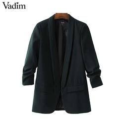 Vadim femmes élégant blanc noir vert blazer sertissage trois manches trimestre survêtement entaillé poche bureau casual tops CT1504