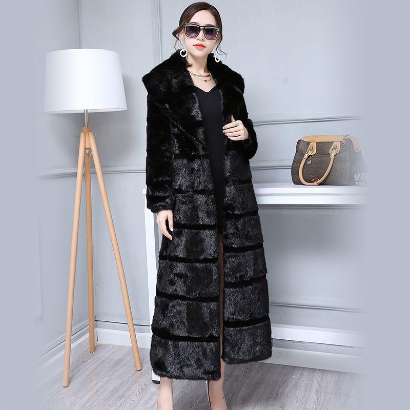 Nerazzurri Duster Faux Fur Coat Women 2018 Winter Extra Long Black Striped Pathchwork Plus Size Fake Fur Overcoat 5XL 6XL 7XL