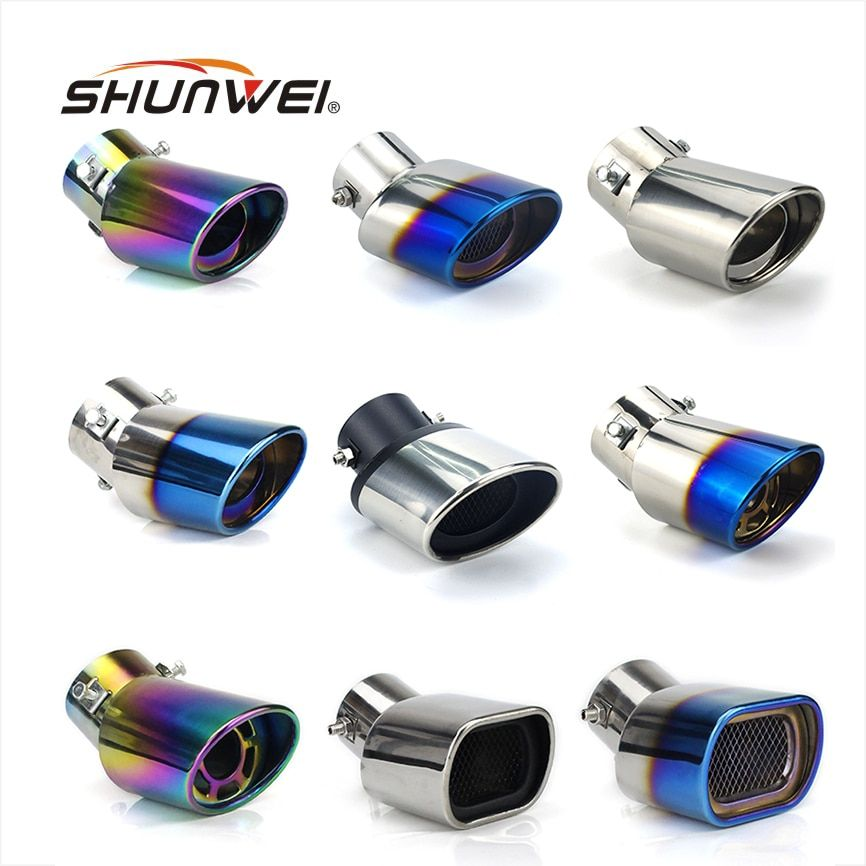 Car Auto Round Exhaust Muffler Tip Stainless Steel Pipe Chrome Trim Modified Car Rear Tail Throat Liner Exhause Car Styling