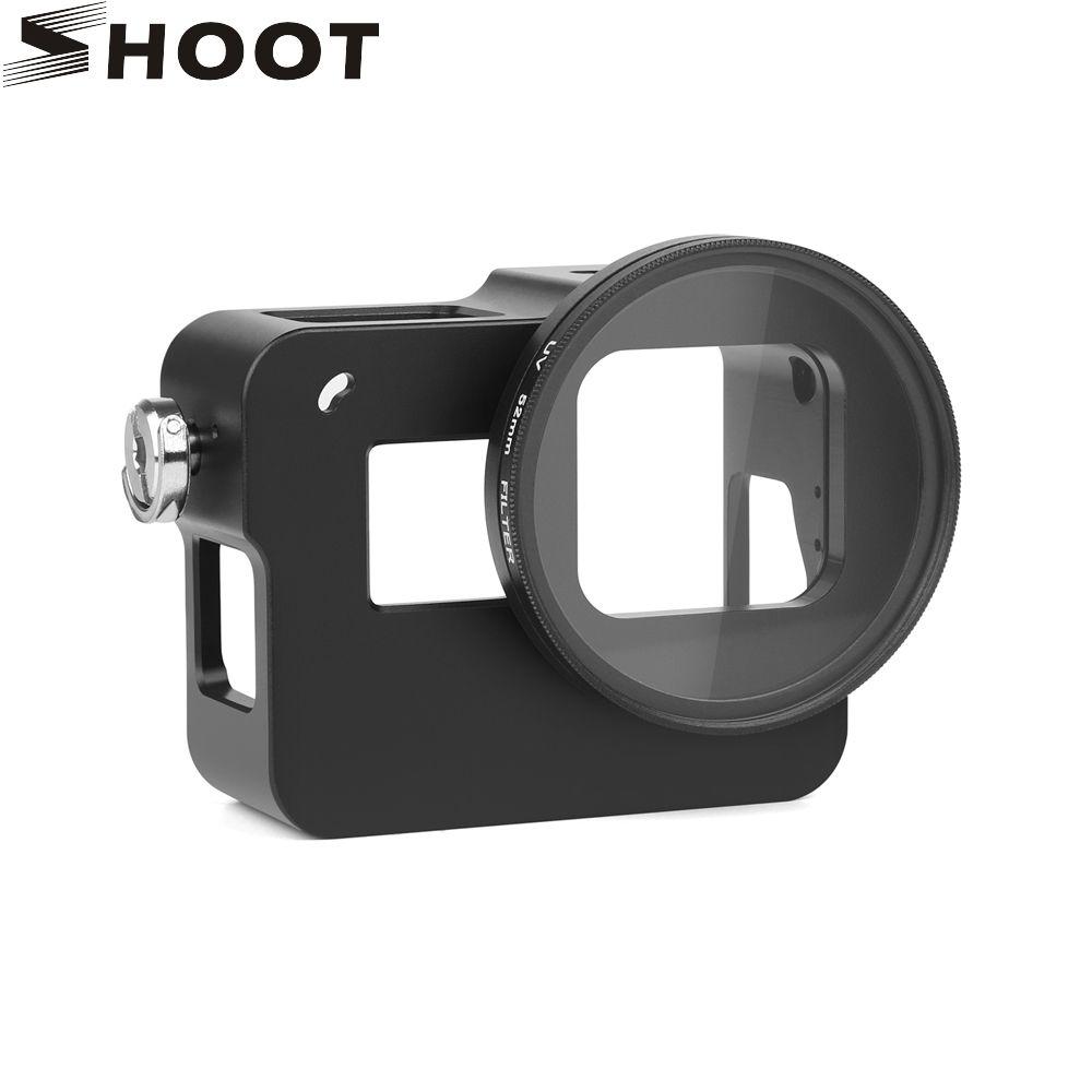 TOURNAGE CNC En Aluminium Alliage Squelette Robuste Cage De Protection Cadre pour GoPro Hero 5 Noir avec 52mm UV Lentille accessoires pour appareil photo