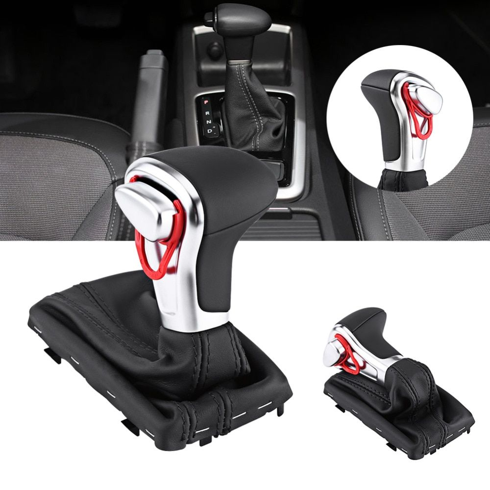Gear Shift Knob Gaitor Boot Cover Black Leather For Audi A4  A5 Q5 Car Accessories