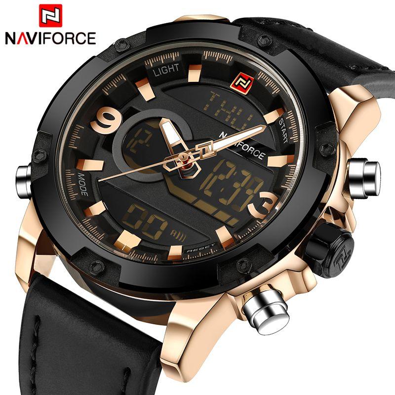NAVIFORCE De Luxe Marque Hommes Analogique Numérique Sport En Cuir de Montres Hommes Armée Militaire Montre Homme Quartz Horloge Relogio Masculino