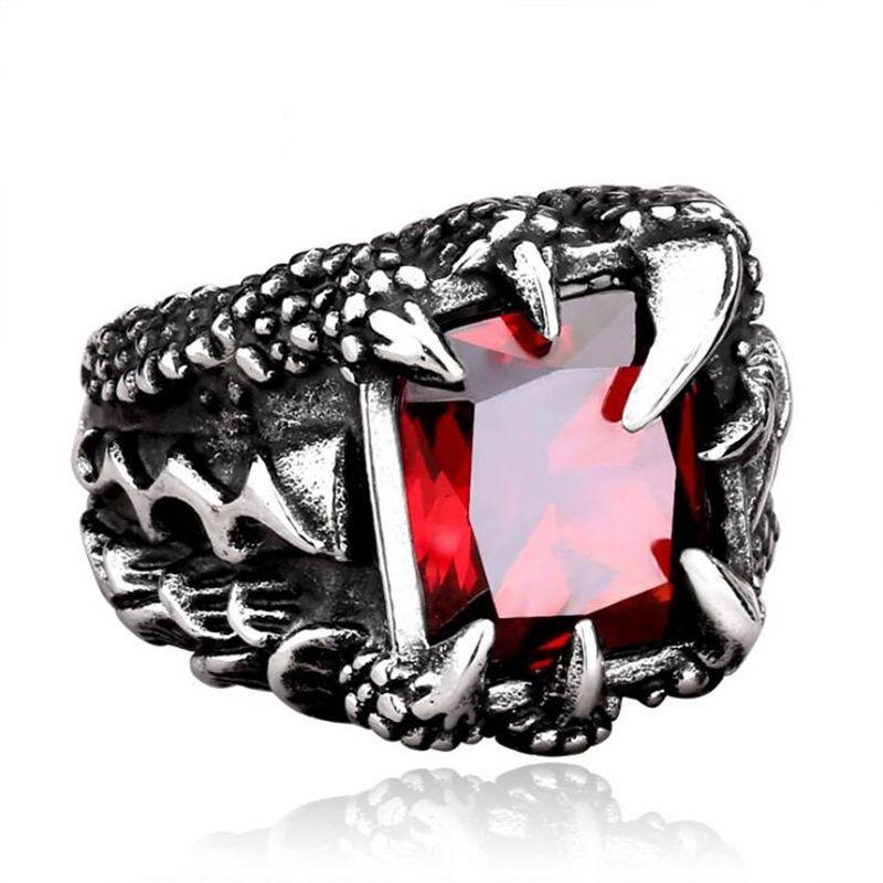 DoreenBeads Dragon griffes Punk anneau hommes en acier inoxydable bijoux mode Vintage de haute qualité rouge/bleu/noir Zircon hommes anneaux