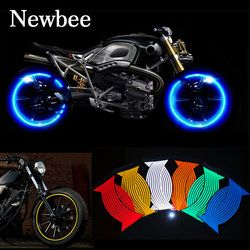 Newbee 16 unids tiras moto rueda pegatina reflectante calcomanías llanta Cintas bicicleta coche para Yamaha Honda Suzuki Harley bmw