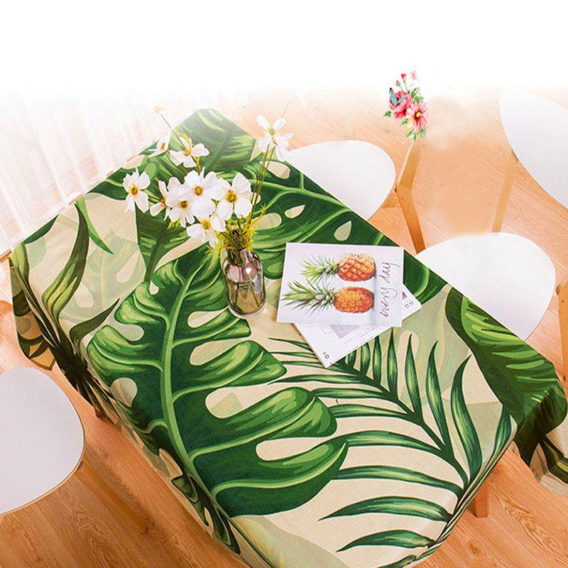 Nappe imperméable rectangulaire style pastorale plantes tropicales imprimé nappe décor à la maison couverture de Table élégante