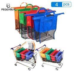 Thicken Cart Trolley Supermarket Shopping Bag Foldable Reusable Eco-Friendly Shop Handbag Totes Collapsible Storage Bag