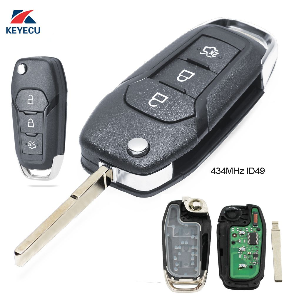 KEYECU Replacement Flip Remote Key Fob 3 Button 433MHz ID49 for Ford Escort / New Mondeo 2014-2017