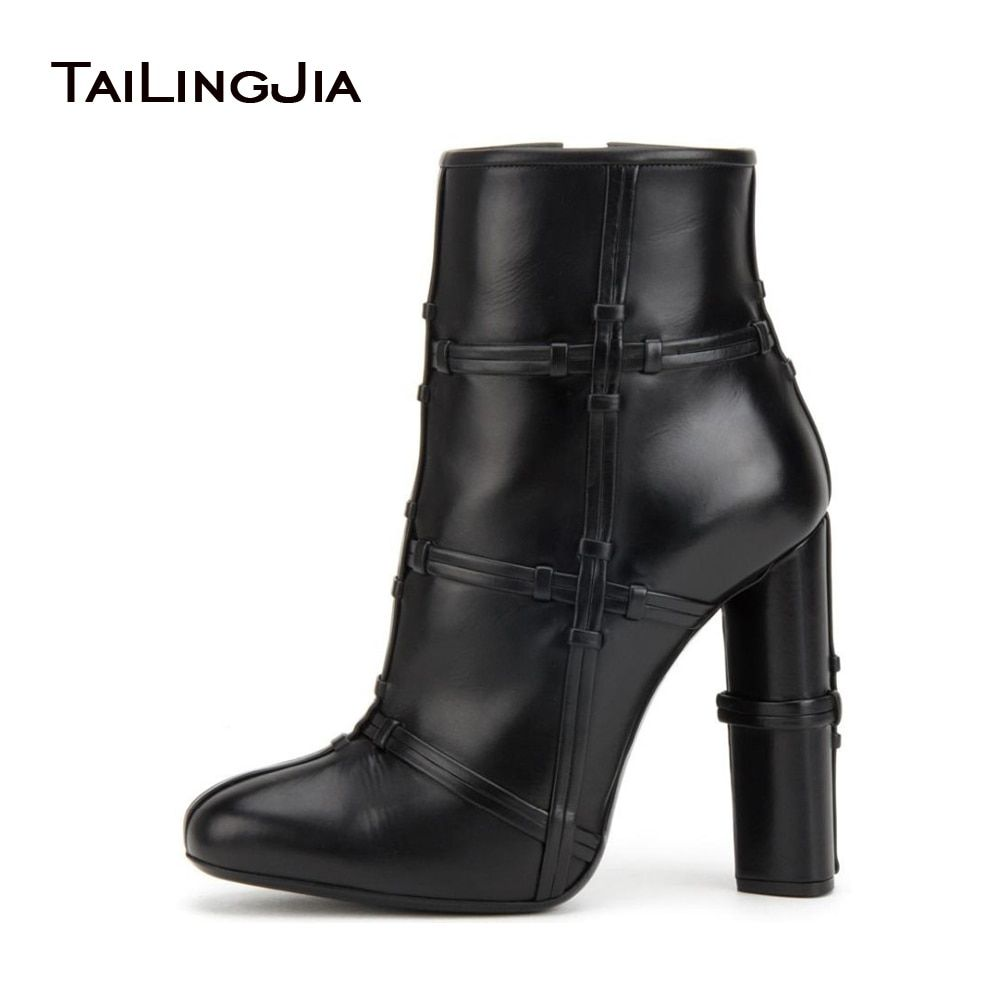 Women Black Ankle Boots 2018 Casual Warm Lining Chunky High Heel Denim Booties Round Toe Zipper Ladies Winter Shoes Wholesale