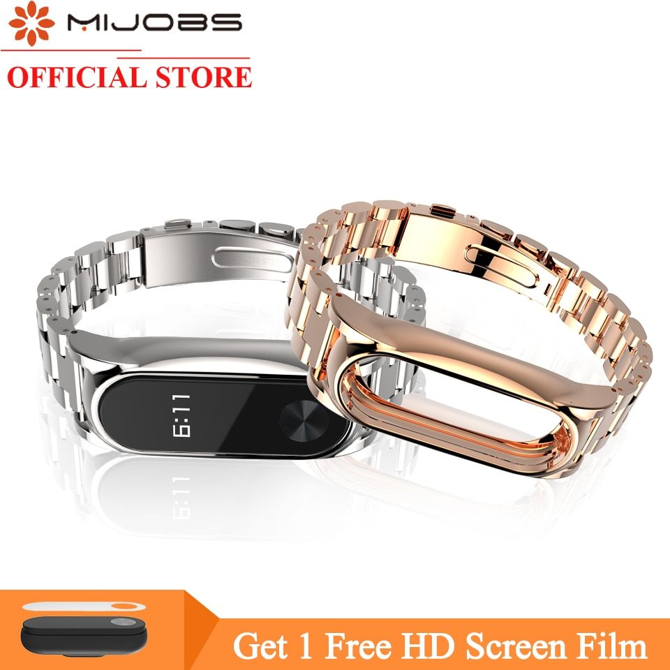 Mijobs Metal Strap For Xiaomi Mi <font><b>Band</b></font> 2 Strap Screwless Stainless Steel Bracelet Wristband Replace Accessories For Mi <font><b>Band</b></font> 2