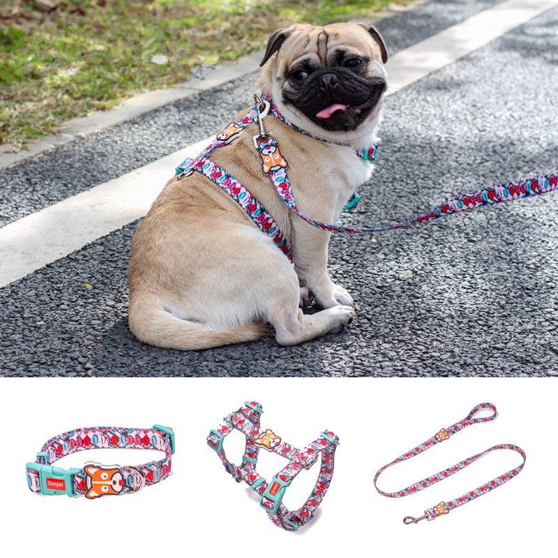 Colliers pour chien impression de créateur de mode harnais pour chien en Nylon Non évasion dégagement rapide harnais pour animaux de compagnie gilet de marche réglable