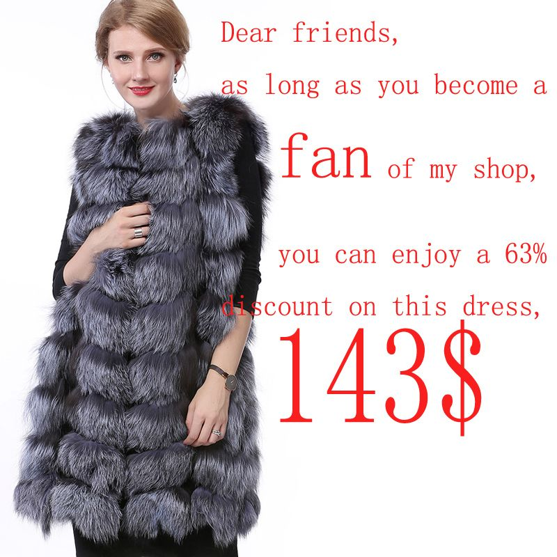 90CM Natural Sleeveless Genuine Fur Coat with Lining Women Real Fox Fur Vest Silver for Real Fur Vest 2018