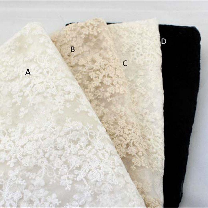 Haut de gamme élégant beau travail Tulle maille brodé blanc brillant mariage dentelle tissu avec cordage robe de mariée dentelle tissu