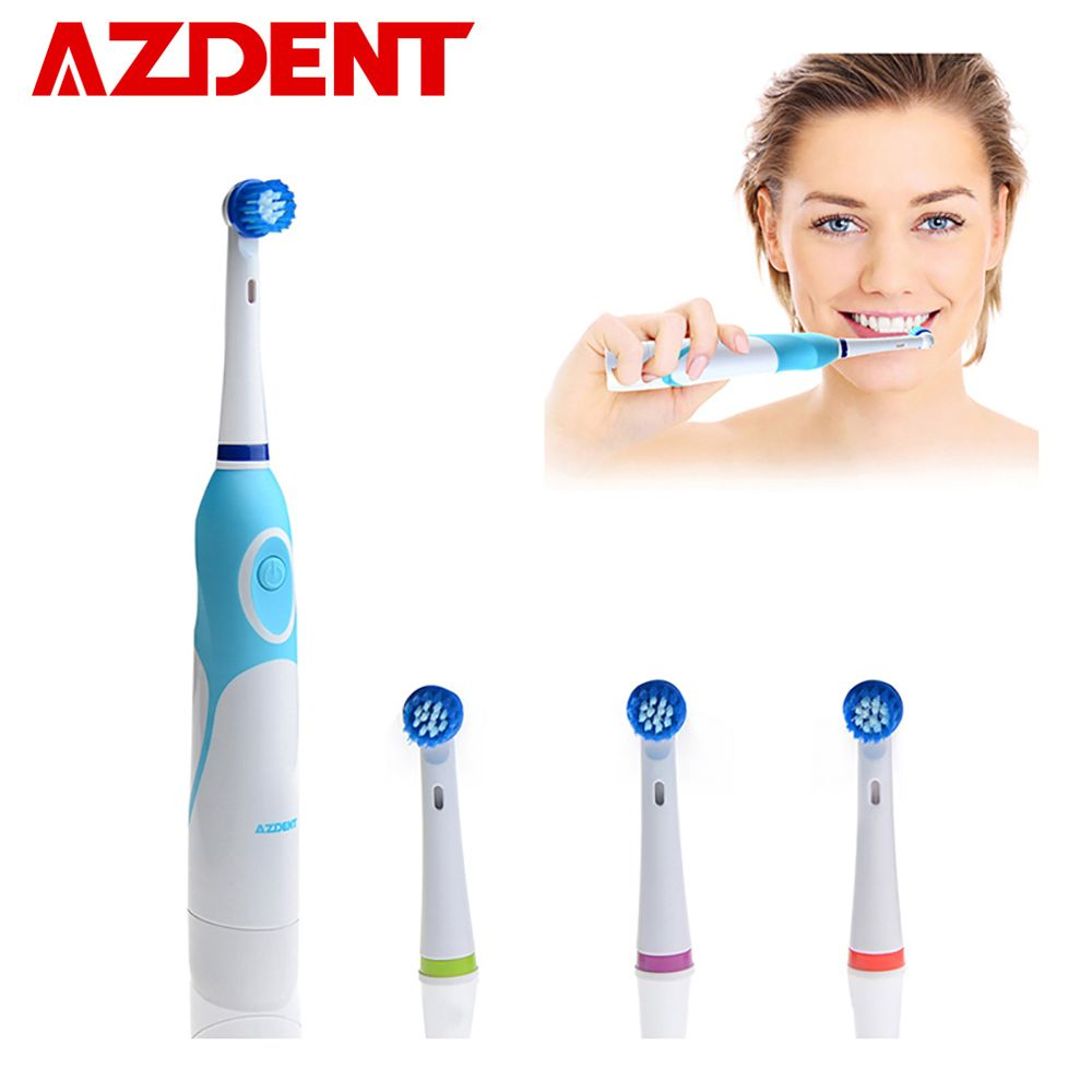 Brosse à dents électrique rotative AZDENT à piles avec 4 têtes de brosse produits d'hygiène buccale sans brosse à dents Rechargeable