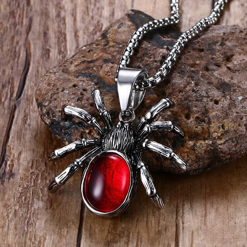 Mens Punk Vintage Retro Black Widow Spider Stainless Steel Pendant Necklace Gothic Red Stone Male Biker Goth Jewelry 24