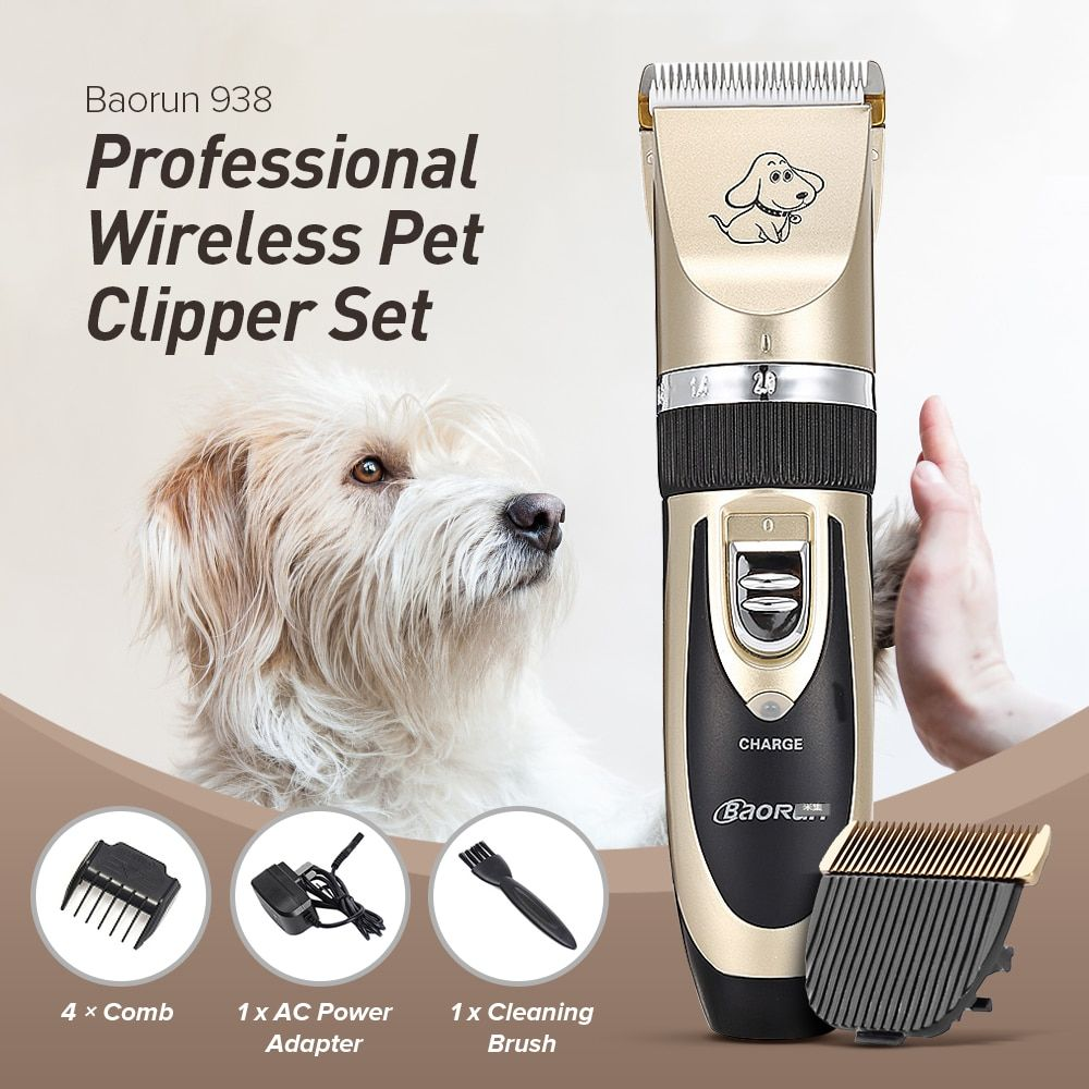 Professionnel Rechargeable Chien Chat Cheveux Tondeuses Électrique Clippers Cutter Chien Animal Coupe de Cheveux Machine Toilettage Outil UE PLUG
