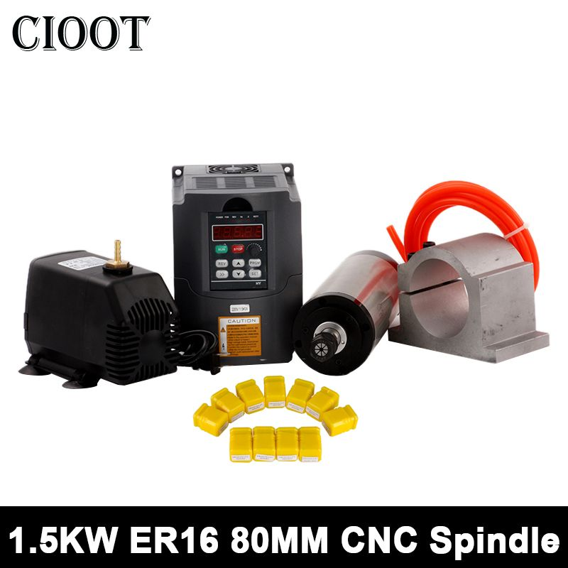 1.5kw CNC Spindle Motor Water Cooled Spindle Router+220V VDF Frequency Inverter+80mm Clamp 75w Pump 5m Pipe+ 11 PCS ER16 Collet