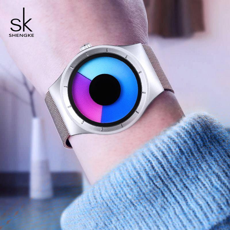 Shengke Creative Women Watches Unique Silver Mesh Band Wrist Watch Luxury Stainless Steel Quartz Watch 2018 SK Relogio Feminino