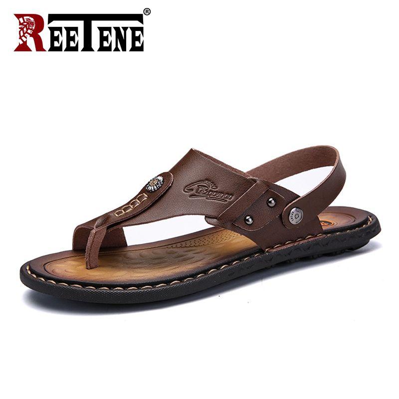 REETENE offre spéciale hommes sandales en cuir véritable hommes chaussures d'été loisirs pantoufles tongs hommes chaussures confortables sandale souple