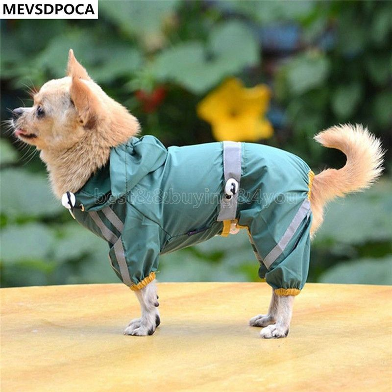 MEVSDPOCA Pet Dog Puppy Cat Glisten Bar Hoody Waterproof Rain Raincoat Jacket Clothes