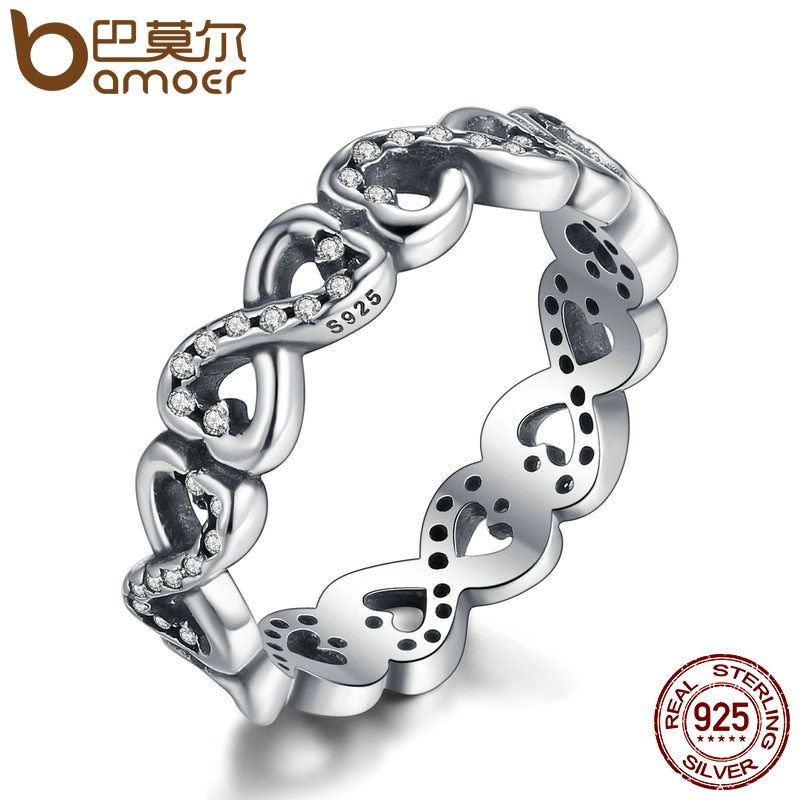 BAMOER Popular 100% 925 Sterling Silver Infinity Love Stackable Ring, Clear CZ Finger Ring Women Luxury Fashion Jewelry PA7198