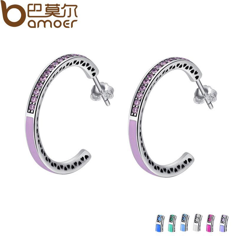 BAMOER Genuine 925 Sterling Silver Radiant Hearts, Light Pink Enamel & Clear Hoop Earrings for Women Jewelry Bijoux SCE053