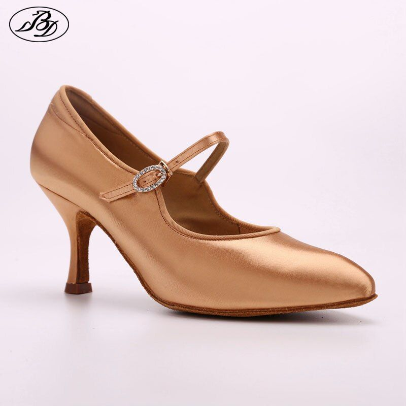 Women Ballroom Dance Shoes Rhinestone BD 137 MOON Tan Satin High Heel Ladies Standard Dancing Shoes Anti-Slip Outsole Dancesport