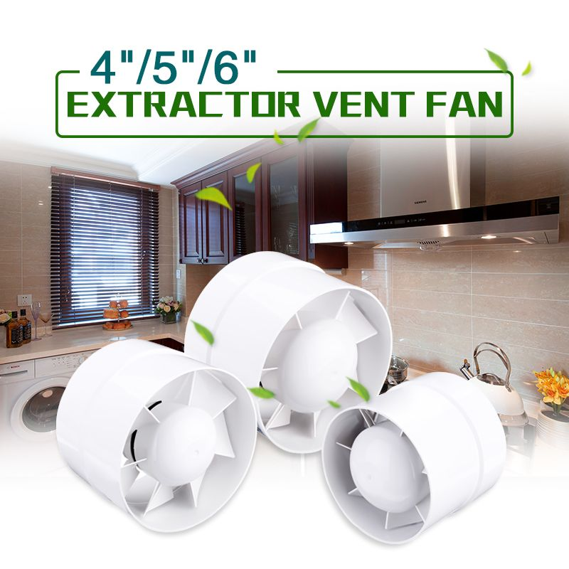 4/5/6 220V Inline Ducted Fan Booster Exhaust Extractor Fan Ventilator Bathroom Bedroom Kitchen Living Room Toilet Ventilation