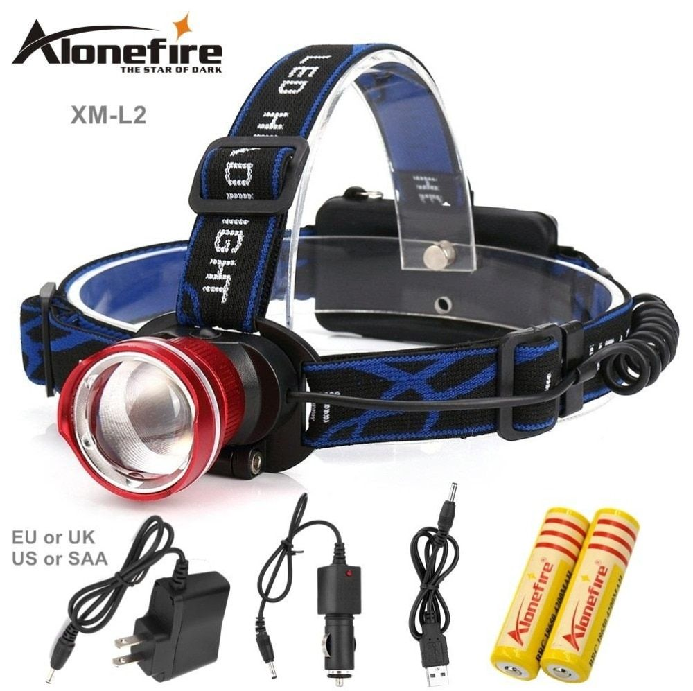 AloneFire HP87 LED Headlight CREE L2 led headlamp zoom 18650 Head lights head lamp 2200lm zoomable lampe frontale LED flashlight