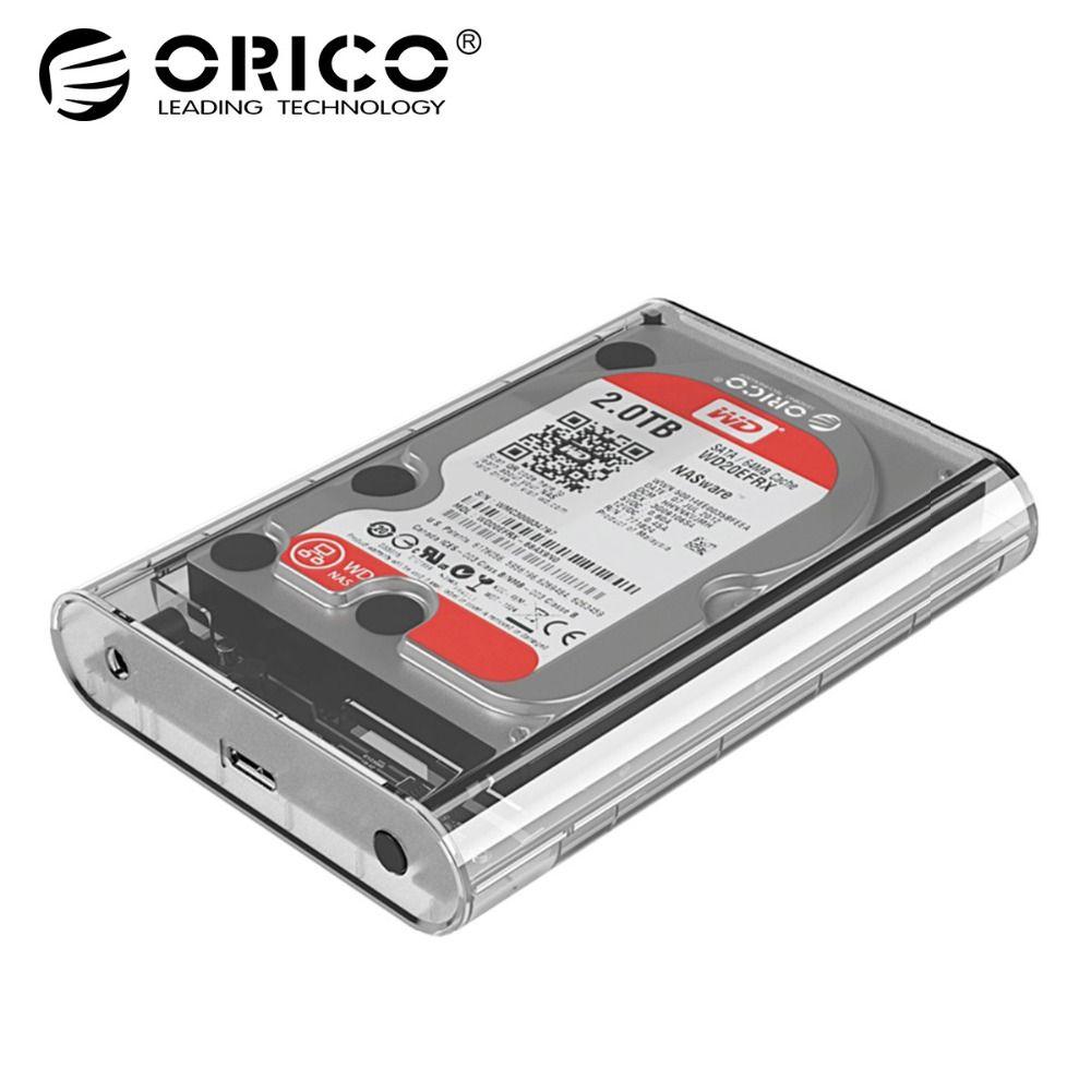 ORICO 3,5 zoll Transparent HDD Gehäuse Sata USB 3.0 Festplatte Fall Werkzeug Kostenloser Externe Hdd Box Unterstützung UASP Bis zu 8 tb